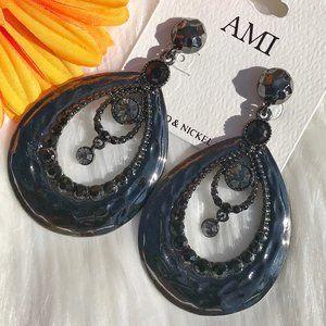 Boho Earrings Rhinestone Hammered Black Post Drops